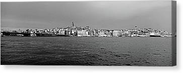Galata Bridge And Buildings On Golden Canvas Print by Panoramic Images