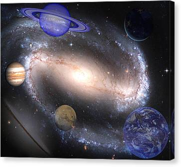 Galaxies And Planets Canvas Print by J D Owen