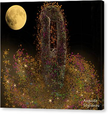 Galaxy And Full Moon Canvas Print by Augusta Stylianou