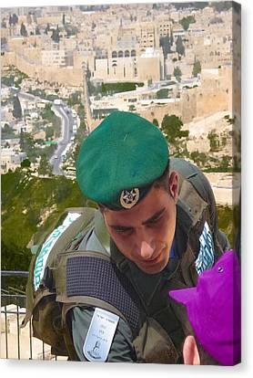 Gallant And Kind Israeli Soldier Canvas Print by Sandra Pena de Ortiz