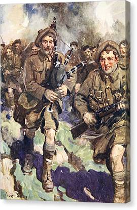 Courage Canvas Print - Gallant Piper Leading The Charge by Cyrus Cuneo