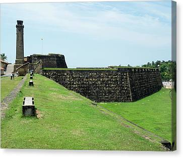 Galle Fort Clock Tower And Rampart Canvas Print