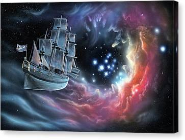 Galleon Amongst The Stars Canvas Print