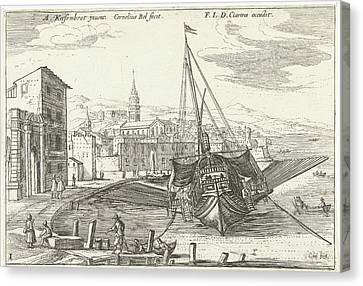 Galley In An Italian Port, Cornelis Bol, Franois Langlois Canvas Print by Cornelis Bol And Fran?ois Langlois