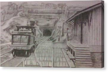 Canvas Print featuring the drawing Gallitzin Tunnel by Thomasina Durkay