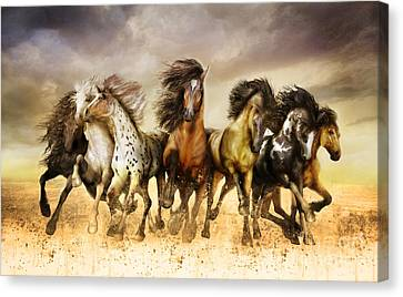 Moving Canvas Print - Galloping Horses Full Color by Shanina Conway