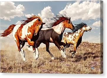 Galloping Mustangs Canvas Print