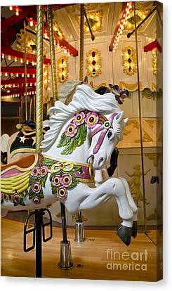 Canvas Print featuring the photograph Galloping White Beauty - Vintage Carousel Horse by Maria Janicki