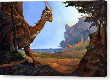 Galversharn The Dragon Looking For Her Eggs Canvas Print by Storn Cook