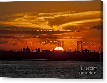 Canvas Print featuring the photograph Galveston At Sunset by Shirley Mangini