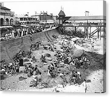 Galveston Beach Scene Canvas Print by Underwood Archives