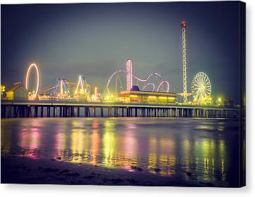 Galveston Pier Colors Canvas Print by Ray Devlin