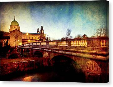 Galway Cathedral And The Salmon Weir Bridge Canvas Print by Mark Tisdale
