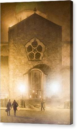 Galway Cathedral In A Winter Fog Canvas Print by Mark E Tisdale