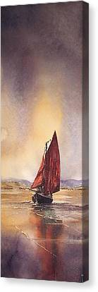 Galway Hooker Reflections Canvas Print by Roland Byrne