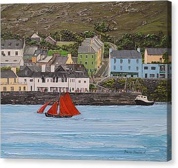 Galway Hooker Sailing Past Roundstone Connemara Ireland Canvas Print by Diana Shephard