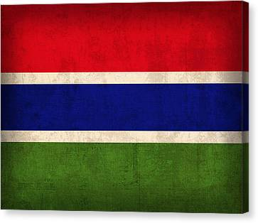 Gambia Flag Vintage Distressed Finish Canvas Print