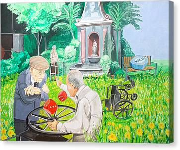 Canvas Print featuring the painting Gambling Grandma  by Lazaro Hurtado