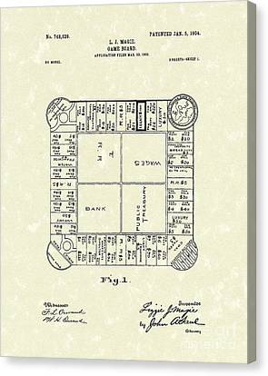 Board Canvas Print - Game Board 1904 Patent Art by Prior Art Design
