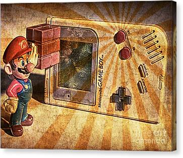 Go Cart Canvas Print - Game Boy And Mario - Vintage by Stefano Senise