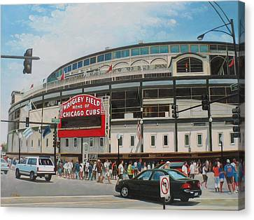 Game Day At Wrigley Canvas Print by Steve Wilson