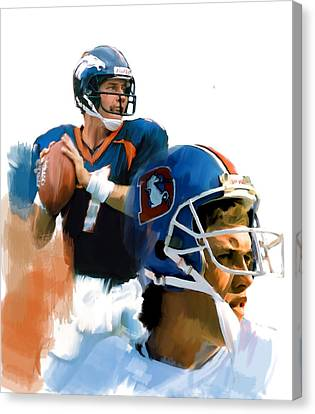 Game Elway  John Elway Canvas Print by Iconic Images Art Gallery David Pucciarelli