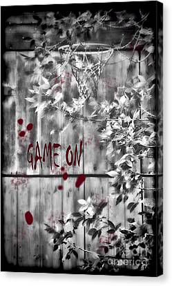 Game On Basketball Black And White Canvas Print