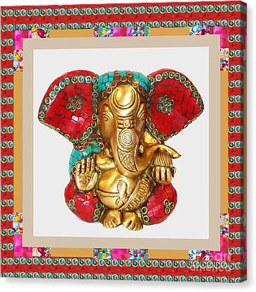 Ganapati Ganesh Idol Hinduism Religion Religious Spiritual Yoga Meditation Deco Navinjoshi  Rights M Canvas Print by Navin Joshi