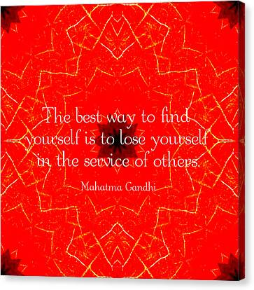 Gandhi Inspirational Saying About Self-help Canvas Print
