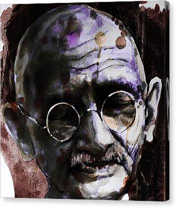 Canvas Print featuring the painting Gandhi by Laur Iduc
