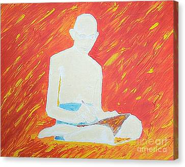 Canvas Print featuring the painting Gandhi by Richard W Linford