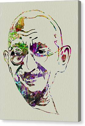 Liberation Canvas Print - Gandhi Watercolor by Naxart Studio
