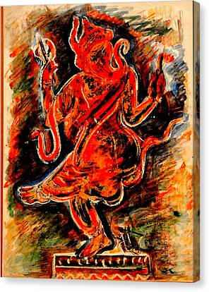 Canvas Print featuring the painting Ganesh- 6 by Anand Swaroop Manchiraju