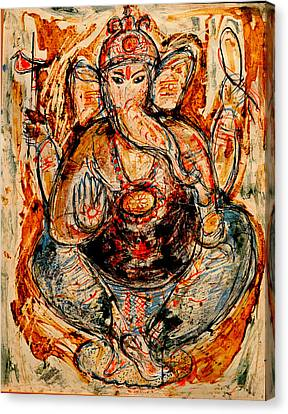 Canvas Print featuring the painting Ganesh- 7 by Anand Swaroop Manchiraju