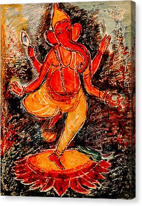 Canvas Print featuring the painting Ganesh- 8 by Anand Swaroop Manchiraju