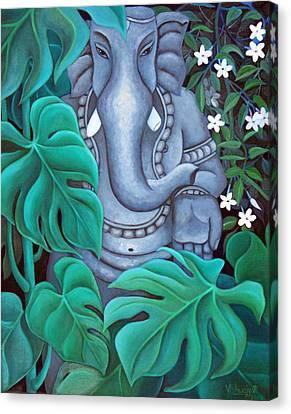 Ganesh With Jasmine Flowers 2 Canvas Print by Vishwajyoti Mohrhoff