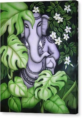 Ganesh With Jasmine Flowers Canvas Print by Vishwajyoti Mohrhoff