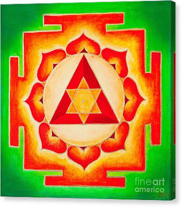 Chakra Therapy Canvas Print - Ganesh Yantra Is A Powerful Tool That Removes All The Obstacles by Raimond Klavins