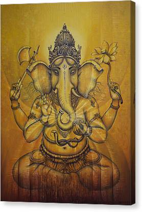 Sacred Artwork Canvas Print - Ganesha Darshan by Vrindavan Das
