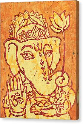 Ganesha Gold And Maroon Canvas Print by Jennifer Mazzucco
