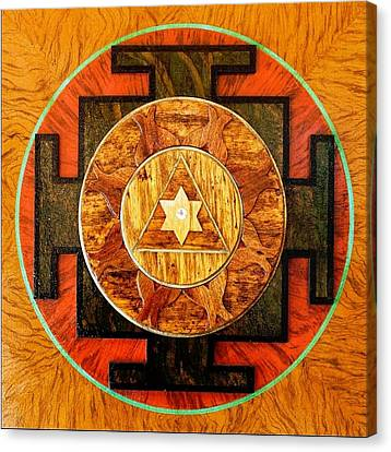 Ganesha Sacred 3d High Relief Artistically Crafted Wooden Yantra    23in X 23in Canvas Print by Peter Clemens