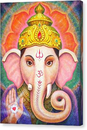 Elephants Canvas Print - Ganesha's Blessing by Sue Halstenberg
