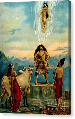 Parvati Canvas Print - Ganga And The River Ganges Falling by Wellcome Images