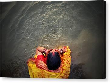 Ganges Bath Canvas Print by Money Sharma