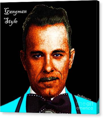 Gangman Style - John Dillinger 13225 - Black - Color Sketch Style - With Text Canvas Print by Wingsdomain Art and Photography