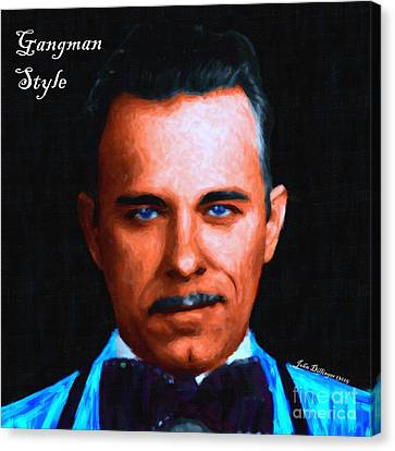 Gangman Style - John Dillinger 13225 - Black - Painterly - With Text Canvas Print by Wingsdomain Art and Photography