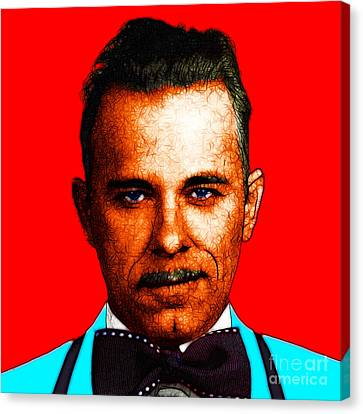 Gangman Style - John Dillinger 13225 - Red - Color Sketch Style Canvas Print by Wingsdomain Art and Photography