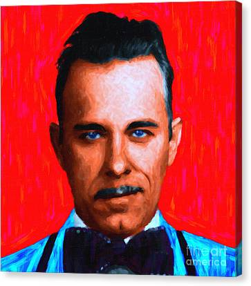 Gangman Style - John Dillinger 13225 - Red - Painterly Canvas Print by Wingsdomain Art and Photography