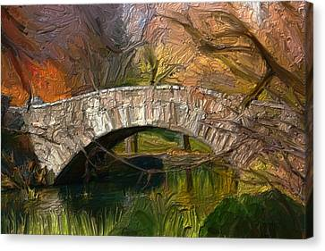 Gapstow Bridge In Central Park Canvas Print by GCannon