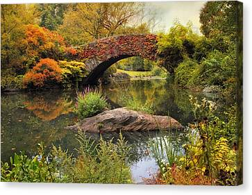 Canvas Print featuring the photograph Gapstow Bridge Serenity by Jessica Jenney